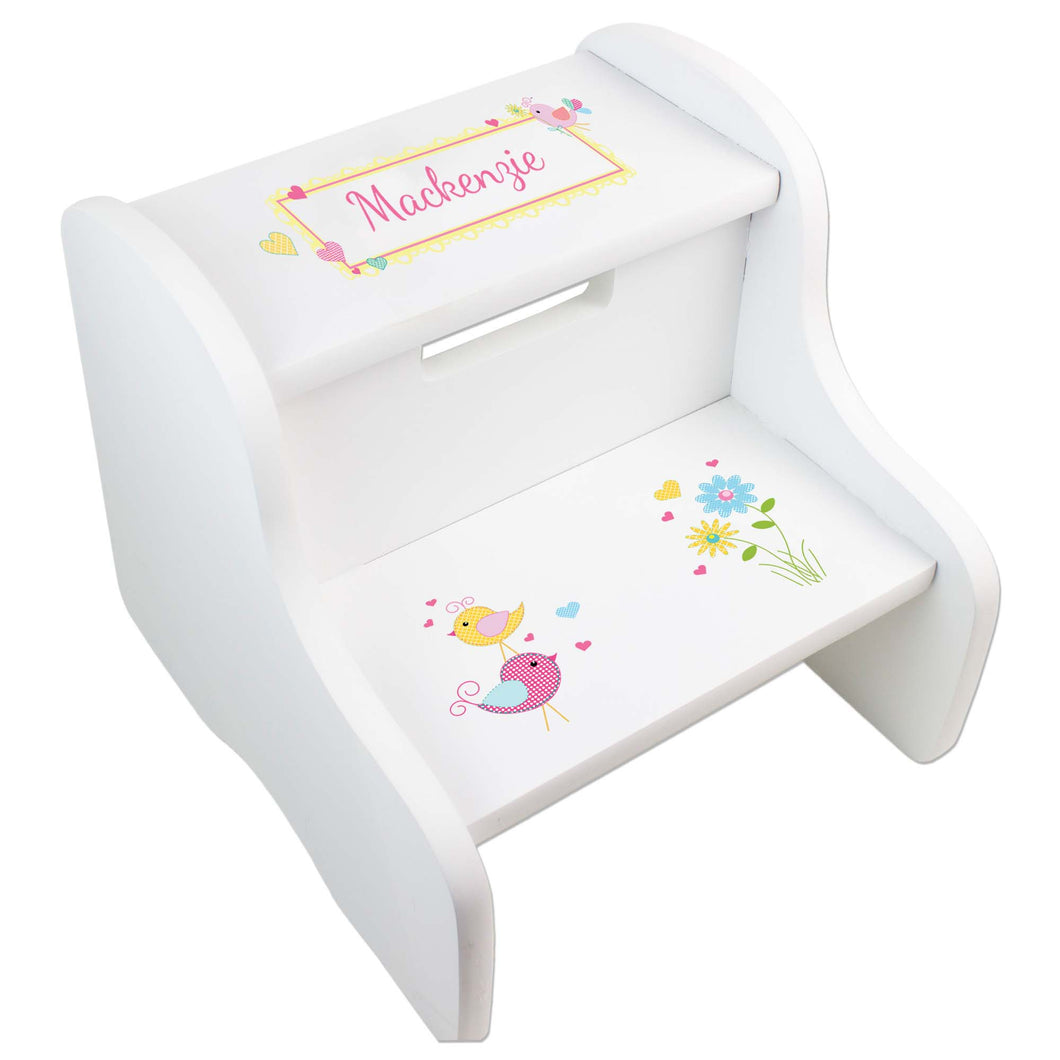 Personalized Lovely Birds White Two Step Stool