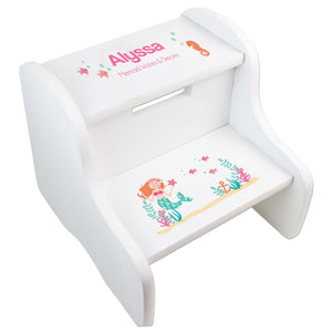 Personalized Mermaid White Step Stool
