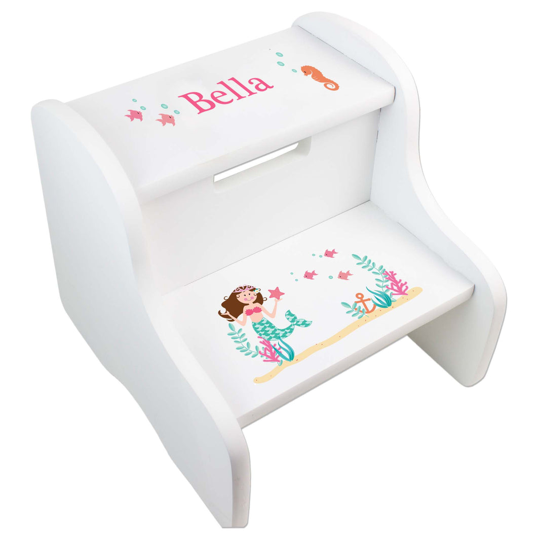 Personalized Brunette Mermaid Princess White Two Step Stool
