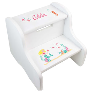 Personalized Blonde Mermaid Princess White Two Step Stool