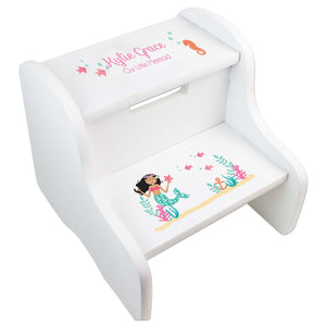 Dark Skin/Hair Mermaid White Two Step Stool