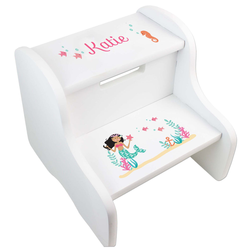 Personalized African American Mermaid Princess White Two Step Stool