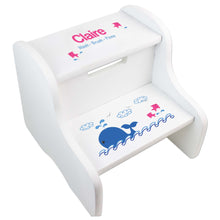 Girl's Pink Whale White Two Step Stool