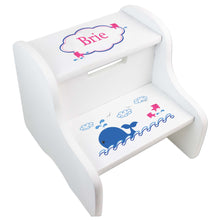 Personalized White Step Stool With Pink Whale Design