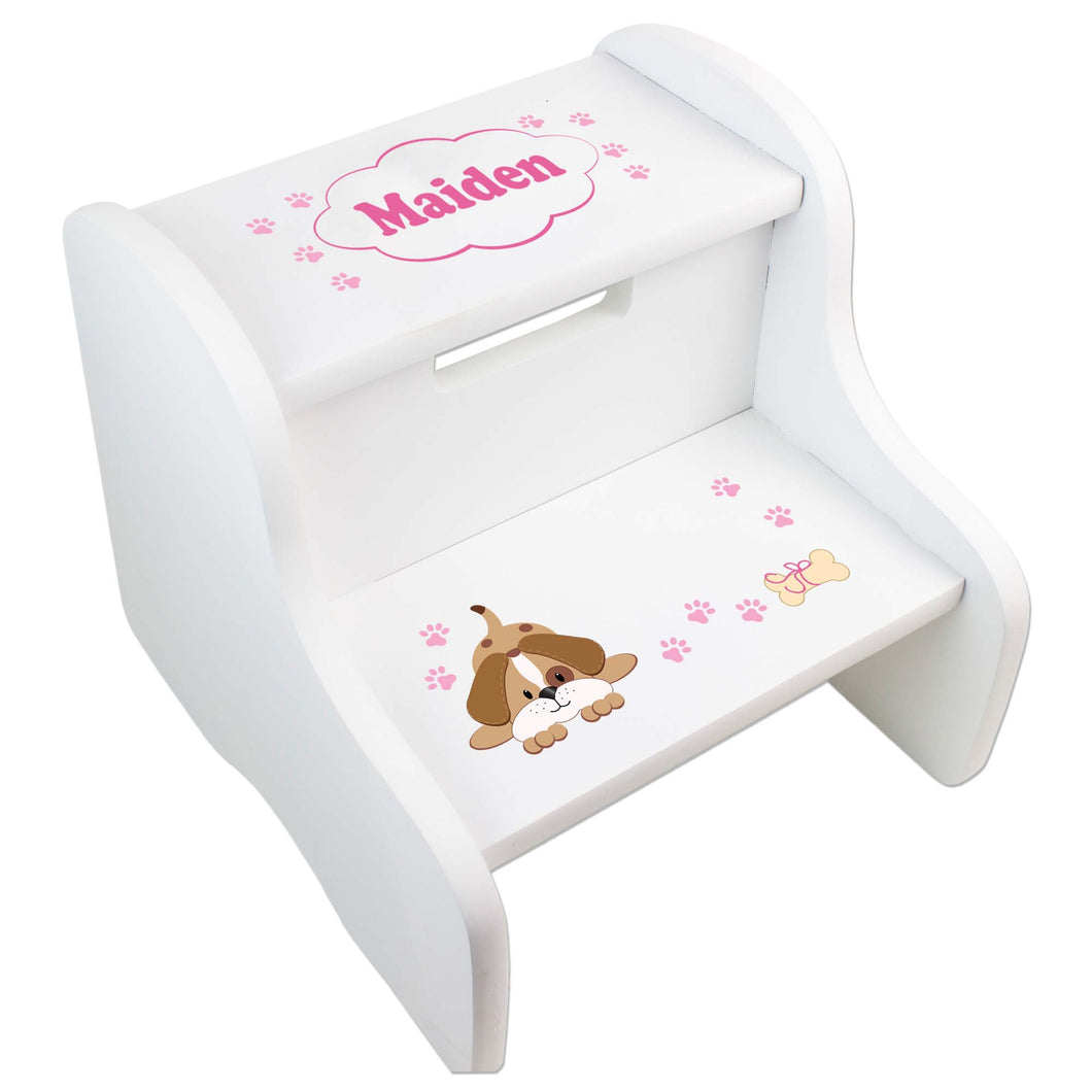 Personalized Pink Puppy White Two Step Stool