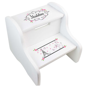 Personalized France Paris White Two Step Stool