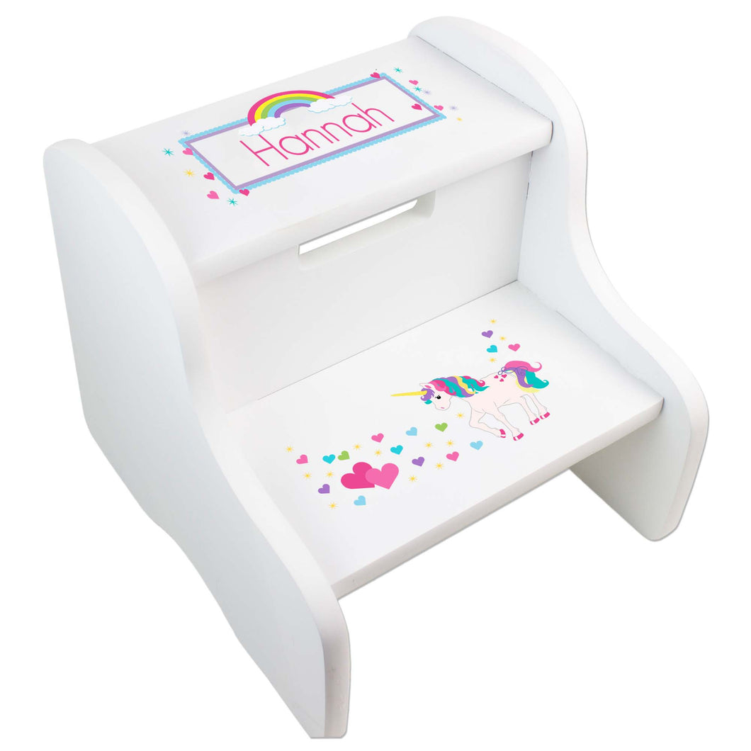 Personalized Unicorn White Two Step Stool