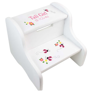 Girl's Personalized Pink Ladybug White Two Step Stool