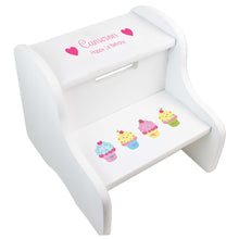 Personalized Cupcakes White Two Step Stool