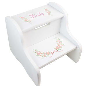 Personalized Floral Garland White Two Step Stool