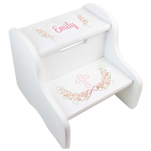 Personalized Communion And Baptism White Two Step Stool
