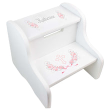 Personalized Holy Cross Pink Gray Floral Garland Design Fixed White Stool