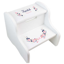 Girl's Navy Pink Floral Garland White Two Step Stool