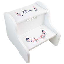 Personalized Navy Pink Floral Garland White Two Step Stool