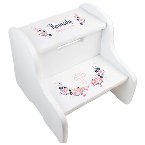 Navy Pink Floral Cross Two Step White Stool