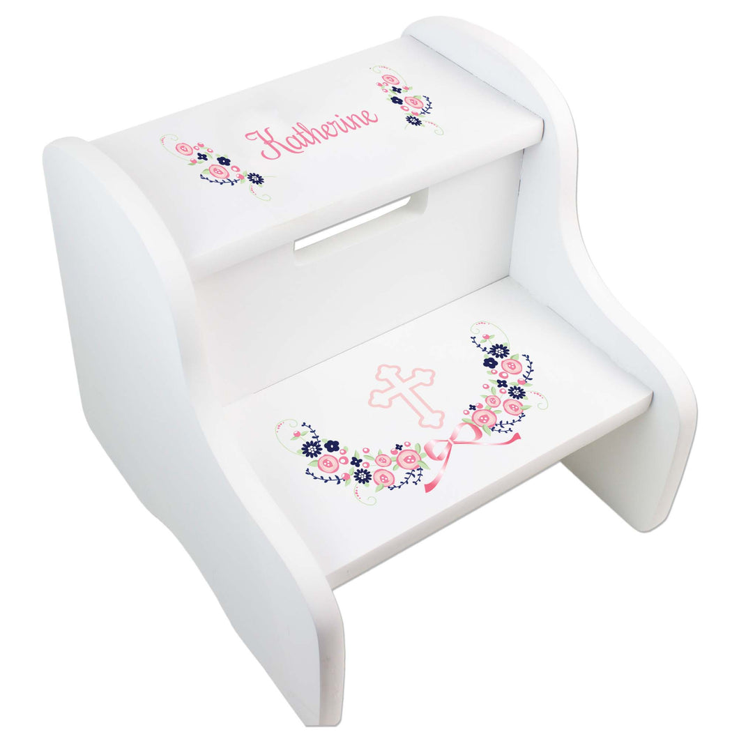 Personalized Holy Cross Navy Pink Floral Garland Design Fixed White Stool