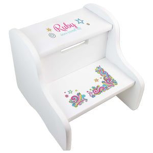 Girl's Groovy Swirl White Two Step Stool