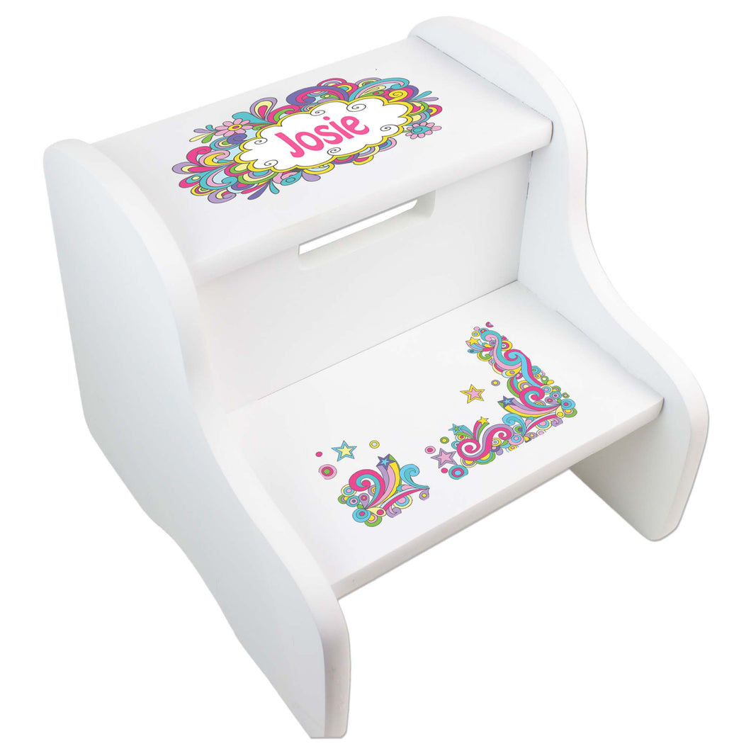 Personalized Groovy Swirl White Two Step Stool