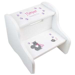 Girl's Kitty Cat White Two Step Stool