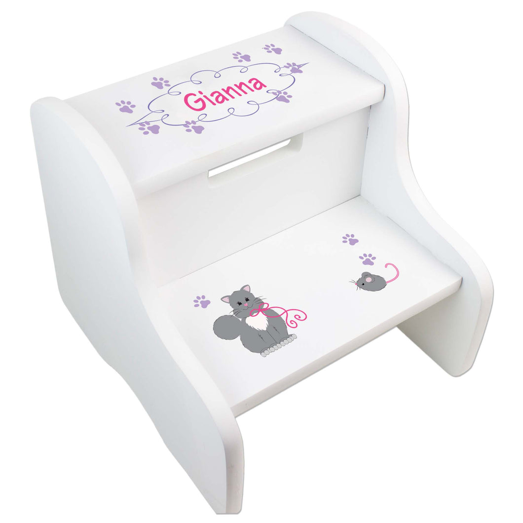Personalized Kitty Cat White Two Step Stool