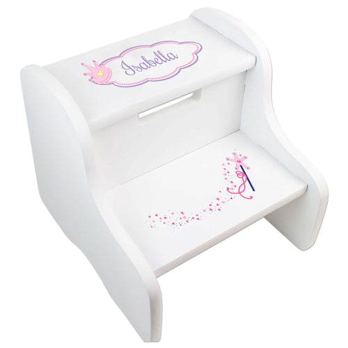 Personalized Fairy Princess White Two Step Stool