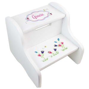 Personalized English Garden White Two Step Stool