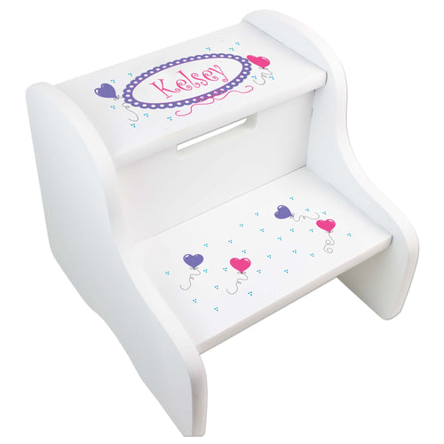 Personalized Girls Heart Balloon White Step Stool