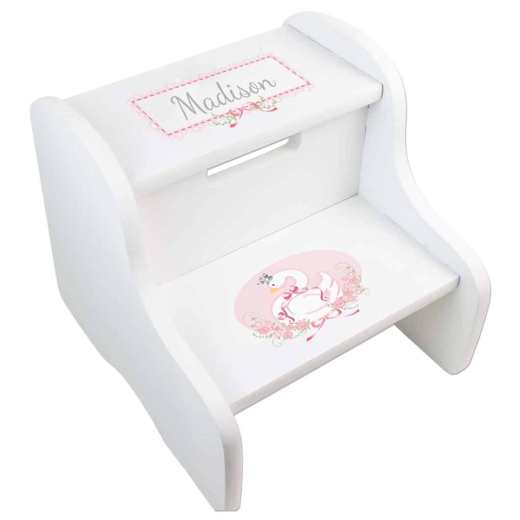 Personalized Swan White Two Step Stool