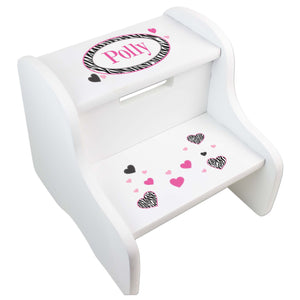 Personalized Groovy Zebra White Two Step Stool