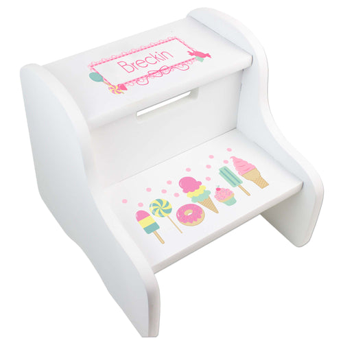 Personalized White Step Stool With Sweet Treats Candy Design