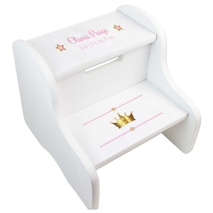 Girl's Princess Crown White Two Step Stool