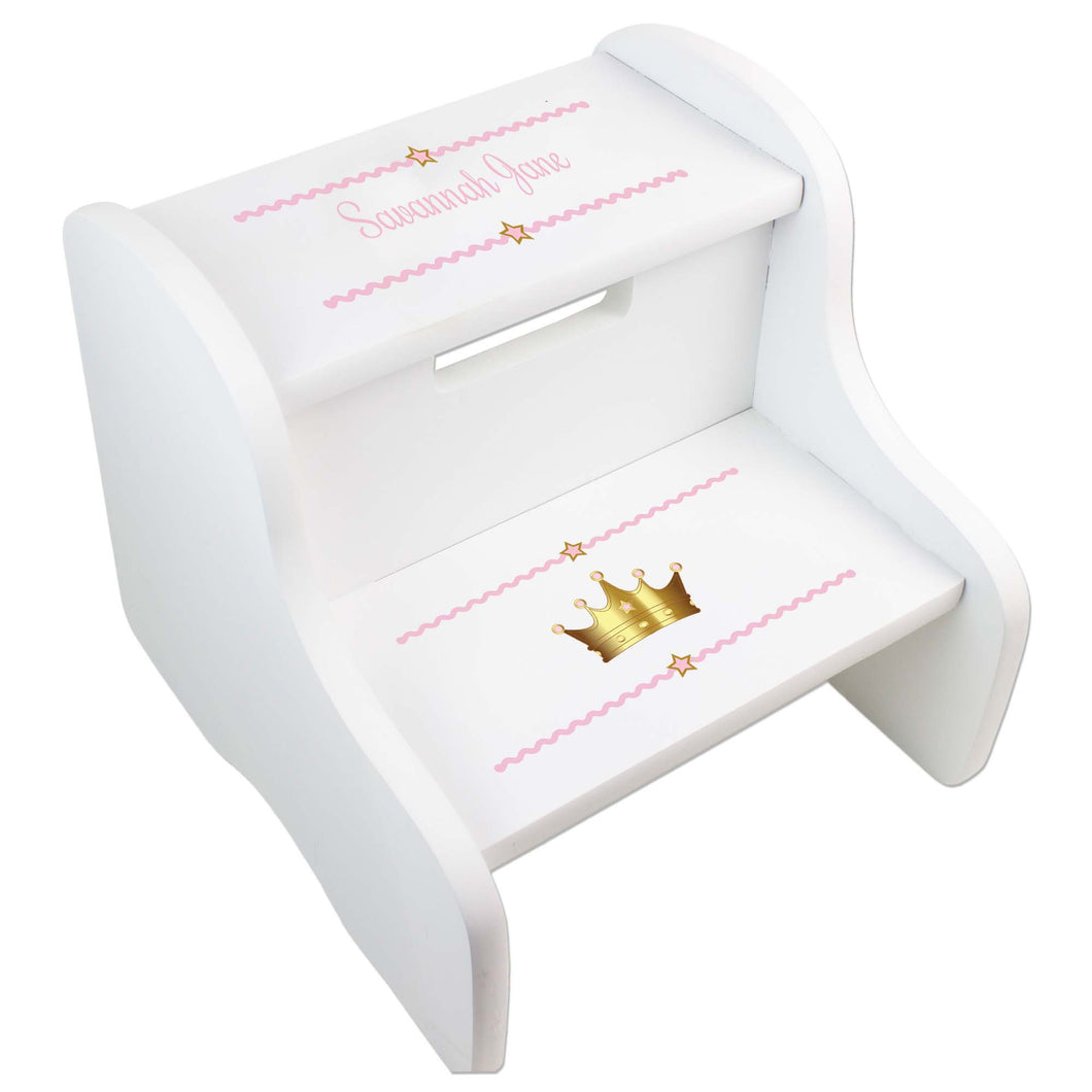 Personalized Pink Princess Crown White Two Step Stool