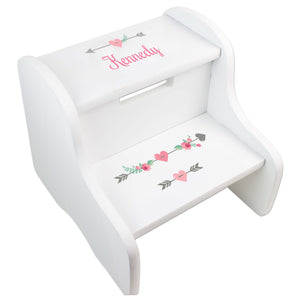 Personalized Girl Tribal Arrows White Two Step Stool