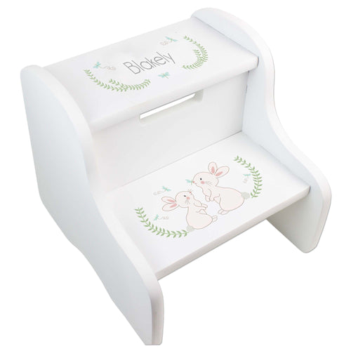 Personalized Classic Bunny White Two Step Stool