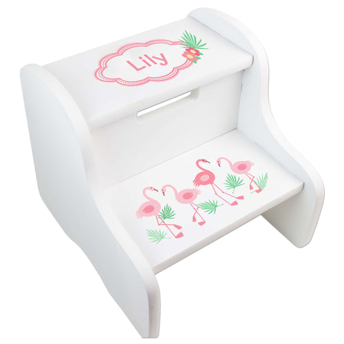 Personalized Palm Flamingo Design Fixed White Stool