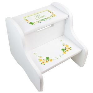 Personalized White Step Stool With Shamrock Design