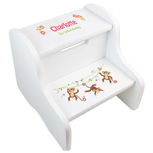 Girl's Personalized Monkey White Two Step Stool