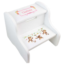 Personalized Monkey Girl White Two Step Stool