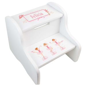 Personalized Ballerina Red Hair White Two Step Stool