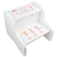 Personalized Ballerina Blonde White Two Step Stool