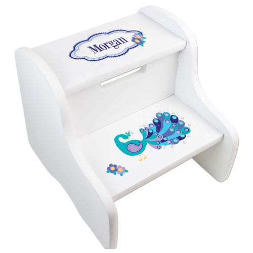 Personalized Peacock White Two Step Stool