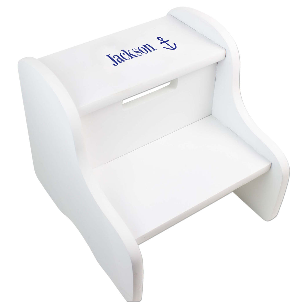 Personalized Single Anchor Design Fixed White Stool