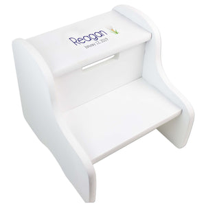 Single Golf Ball White Two Step Stool