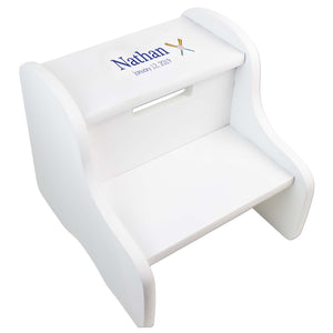 Single Baseball White Two Step Stool
