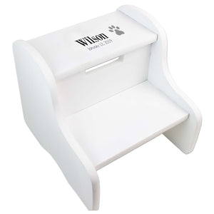 Single Paw Print White Two Step Stool