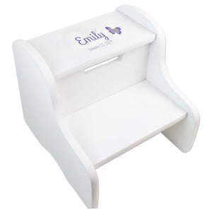 Single Butterfly White Two Step Stool