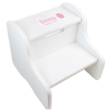 Single Daisy White Two Step Stool