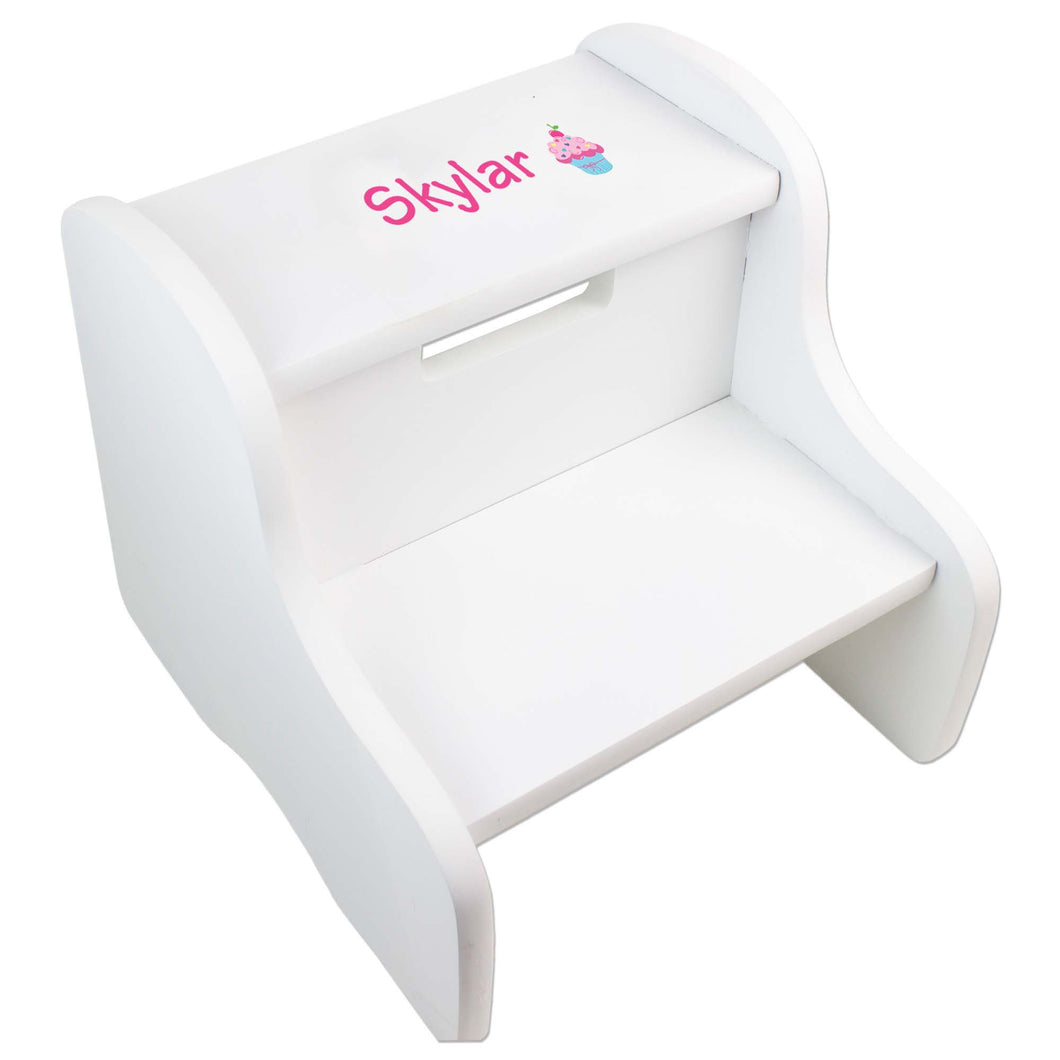 Personalized Single Cupcake Design Fixed White Stool