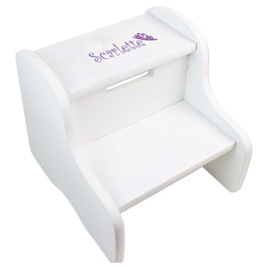 Personalized Single Tiara Design Fixed White Stool
