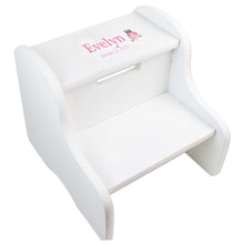 Single Owl White Two Step Stool